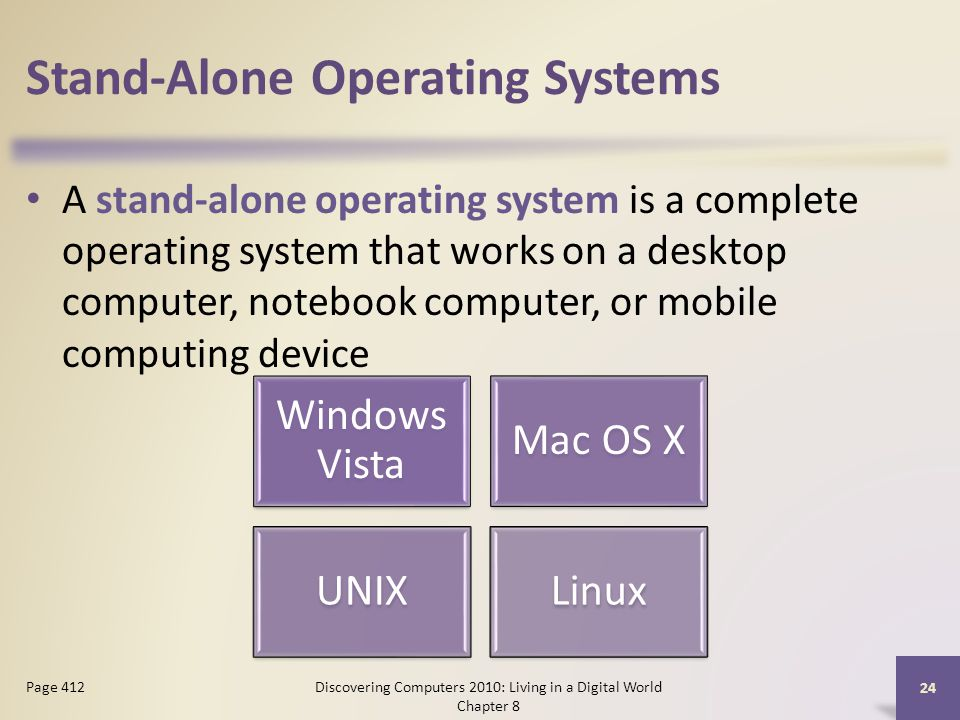 Stand-Alone Operating Systems A stand-alone operating system is a complete operating system that works on a desktop computer, notebook computer, or mobile computing device Discovering Computers 2010: Living in a Digital World Chapter 8 24 Page 412 Windows Vista Mac OS X UNIXLinux