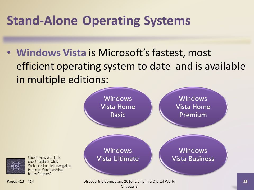 Stand-Alone Operating Systems Windows Vista is Microsoft's fastest, most efficient operating system to date and is available in multiple editions: Discovering Computers 2010: Living in a Digital World Chapter 8 25 Pages Windows Vista Home Basic Windows Vista Home Premium Windows Vista Ultimate Windows Vista Business Click to view Web Link, click Chapter 8, Click Web Link from left navigation, then click Windows Vista below Chapter 8