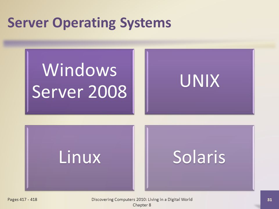 Server Operating Systems Windows Server 2008 UNIX LinuxSolaris Discovering Computers 2010: Living in a Digital World Chapter 8 31 Pages