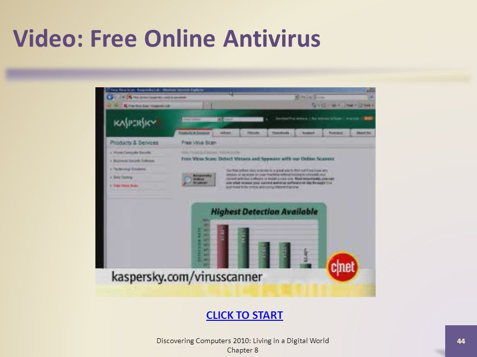 Video: Free Online Antivirus Discovering Computers 2010: Living in a Digital World Chapter 8 44 CLICK TO START