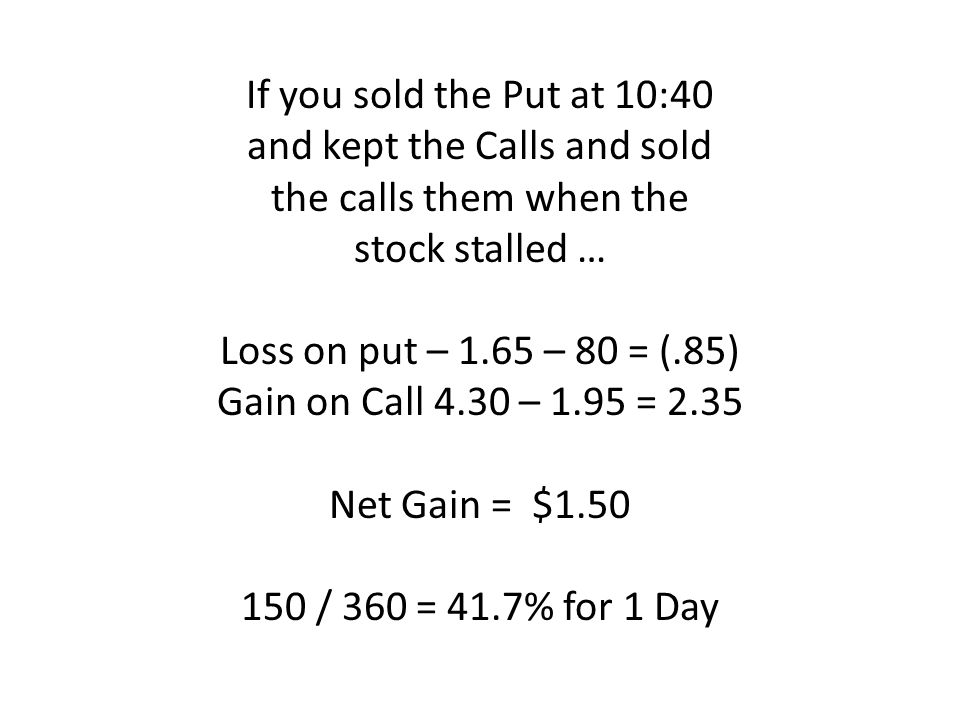 If you sold the Put at 10:40 and kept the Calls and sold the calls them when the stock stalled … Loss on put – 1.65 – 80 = (.85) Gain on Call 4.30 – 1.95 = 2.35 Net Gain = $ / 360 = 41.7% for 1 Day