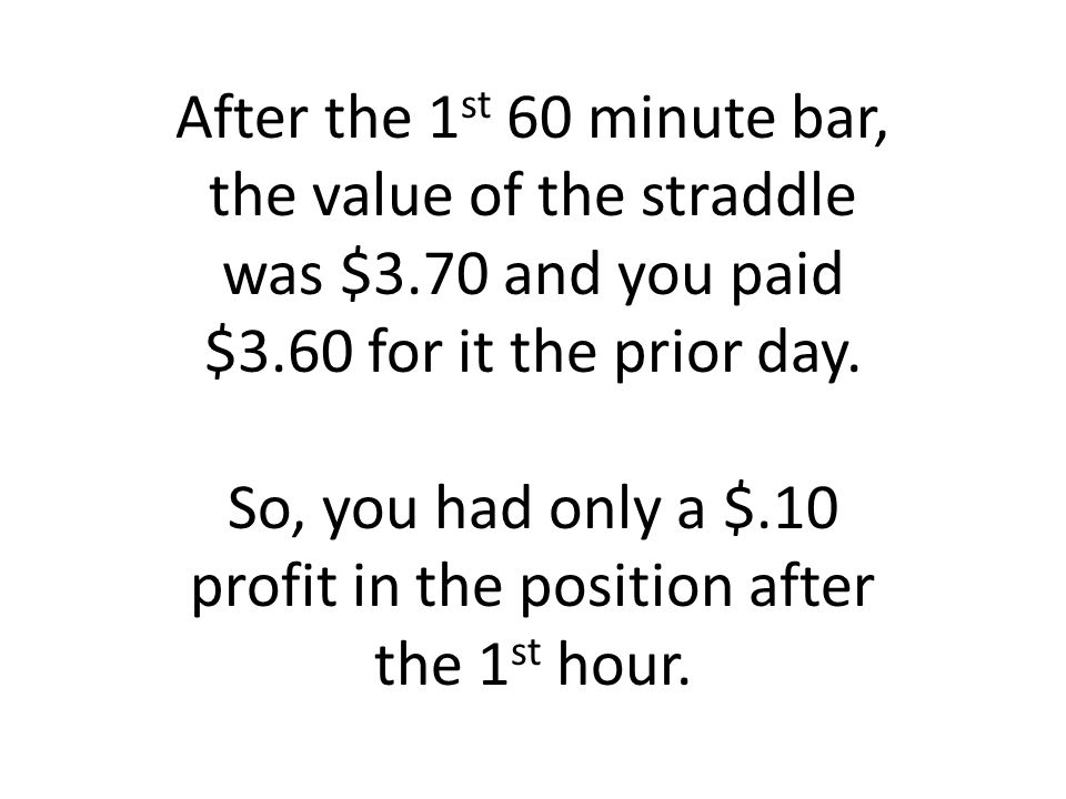 After the 1 st 60 minute bar, the value of the straddle was $3.70 and you paid $3.60 for it the prior day.