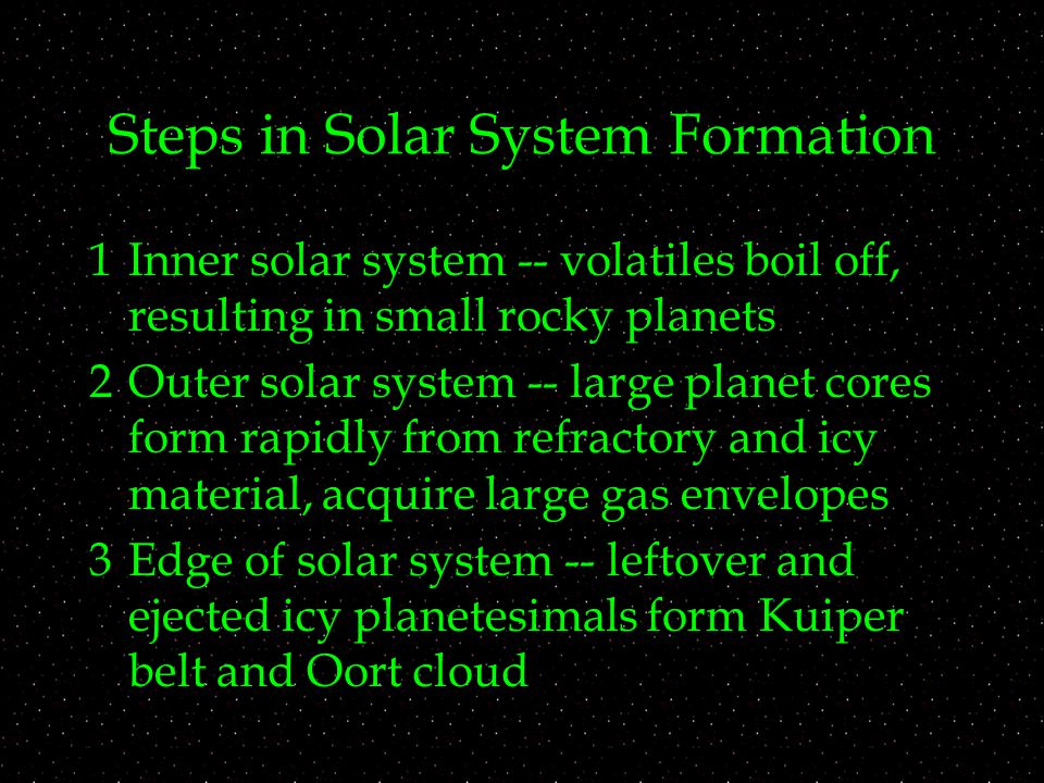 Steps in Solar System Formation 1Inner solar system -- volatiles boil off, resulting in small rocky planets 2Outer solar system -- large planet cores form rapidly from refractory and icy material, acquire large gas envelopes 3Edge of solar system -- leftover and ejected icy planetesimals form Kuiper belt and Oort cloud