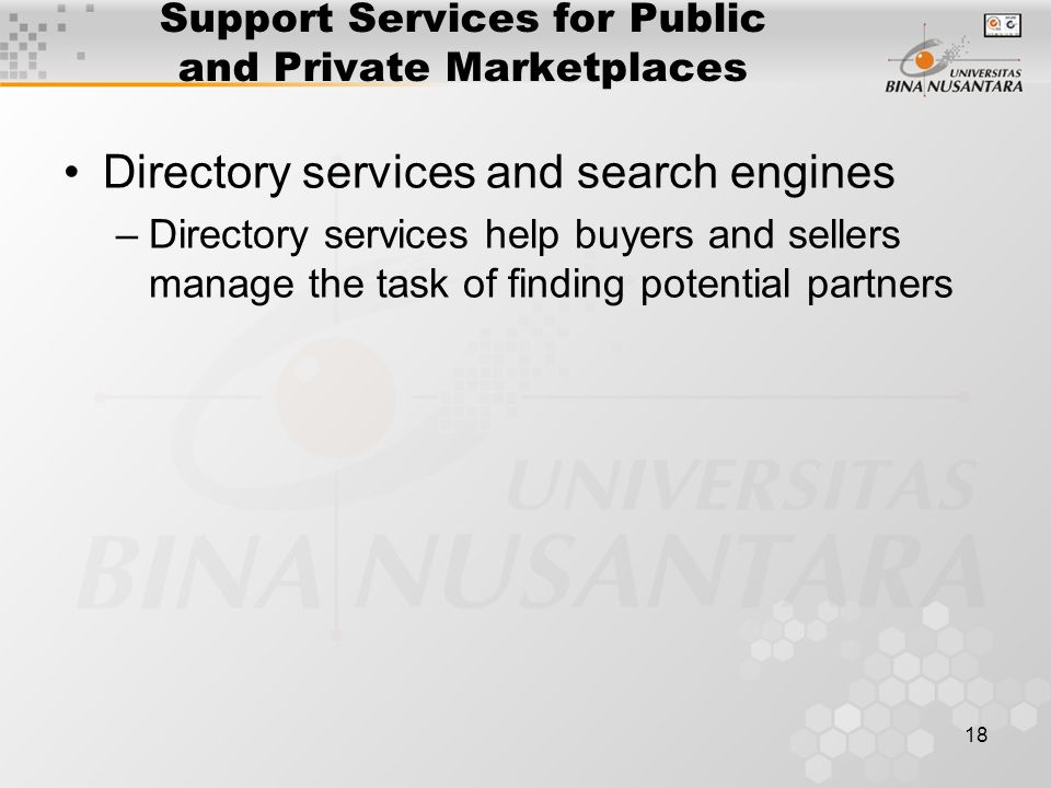 18 Support Services for Public and Private Marketplaces Directory services and search engines –Directory services help buyers and sellers manage the task of finding potential partners