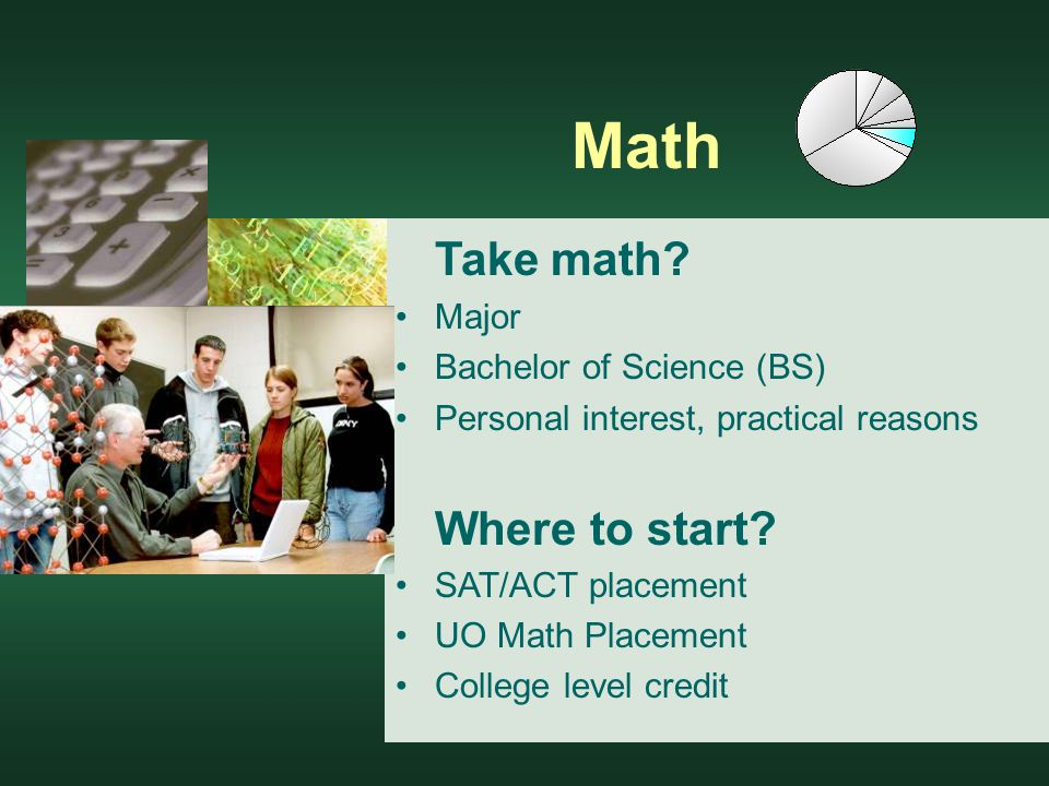 Math Take math. Major Bachelor of Science (BS) Personal interest, practical reasons Where to start.