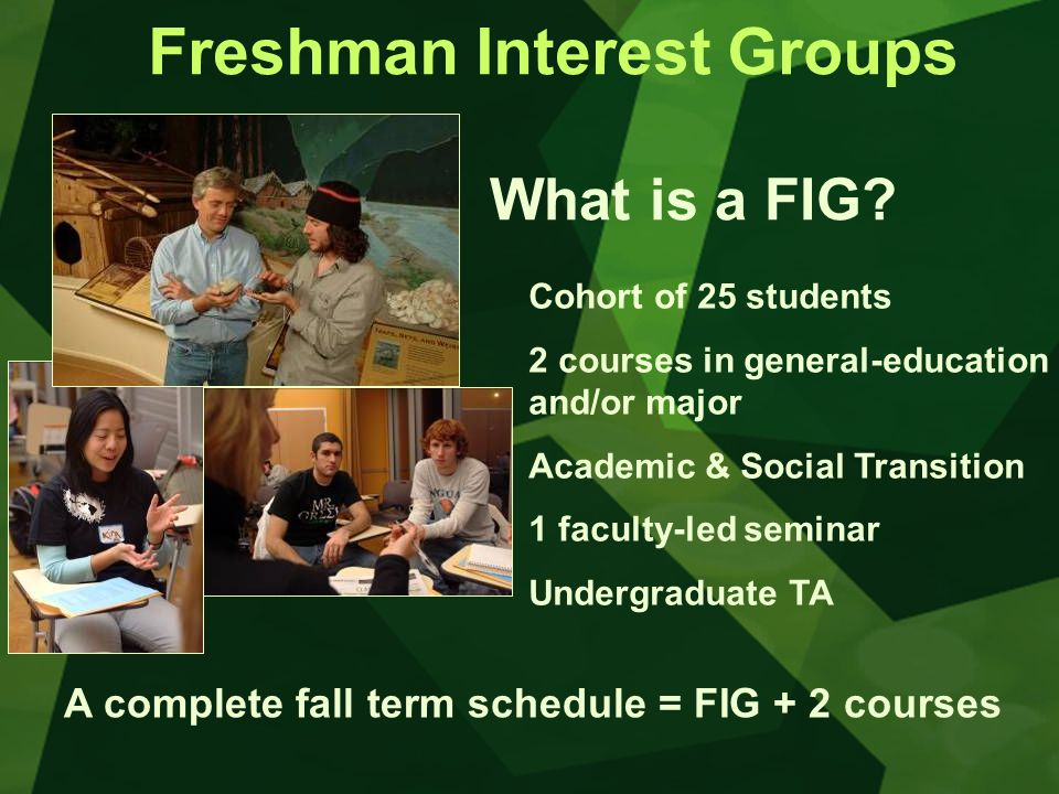Freshman Interest Groups What is a FIG.