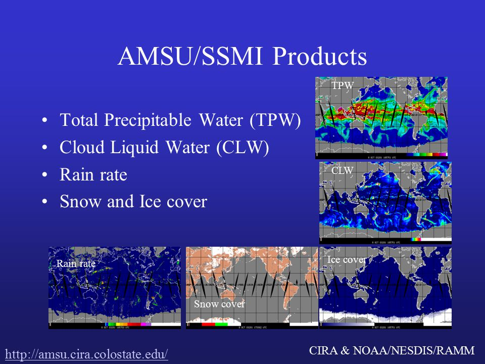 CIRA & NOAA/NESDIS/RAMM AMSU/SSMI Products Total Precipitable Water (TPW) Cloud Liquid Water (CLW) Rain rate Snow and Ice cover TPW CLW Rain rate Snow cover Ice cover