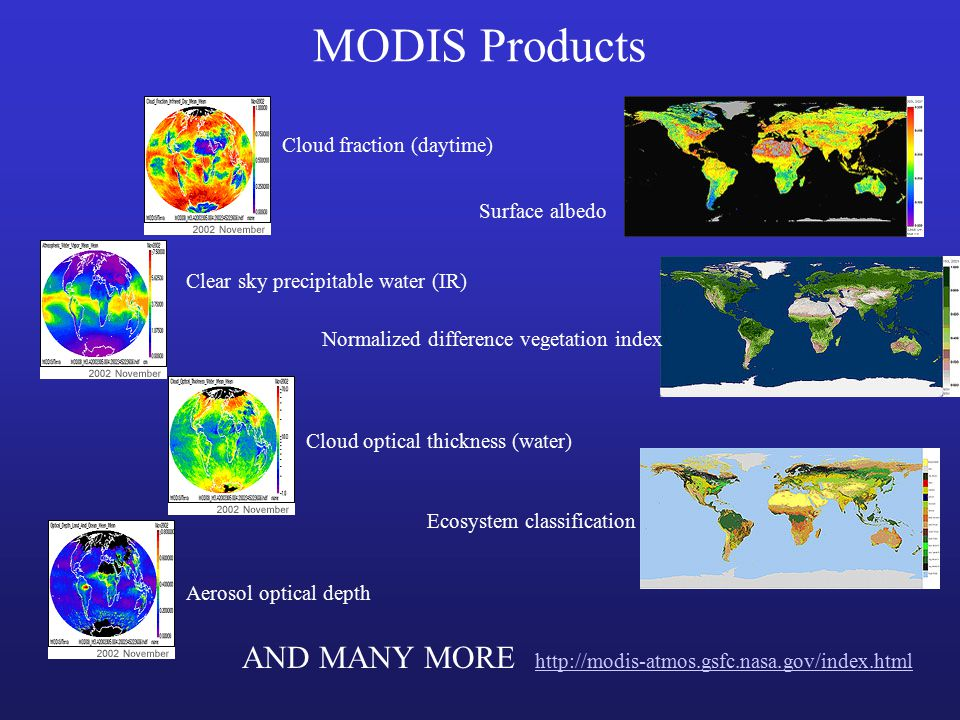 MODIS Products Clear sky precipitable water (IR) Cloud fraction (daytime) Aerosol optical depth Cloud optical thickness (water) Surface albedo Normalized difference vegetation index Ecosystem classification AND MANY MORE