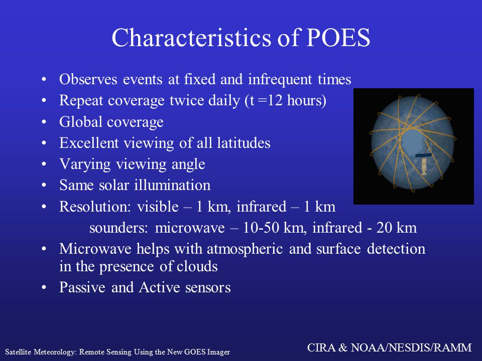 CIRA & NOAA/NESDIS/RAMM Characteristics of POES Observes events at fixed and infrequent times Repeat coverage twice daily (t =12 hours) Global coverage Excellent viewing of all latitudes Varying viewing angle Same solar illumination Resolution: visible – 1 km, infrared – 1 km sounders: microwave – km, infrared - 20 km Microwave helps with atmospheric and surface detection in the presence of clouds Passive and Active sensors Satellite Meteorology: Remote Sensing Using the New GOES Imager