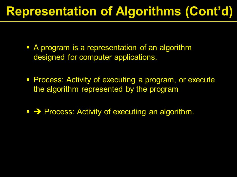  A program is a representation of an algorithm designed for computer applications.