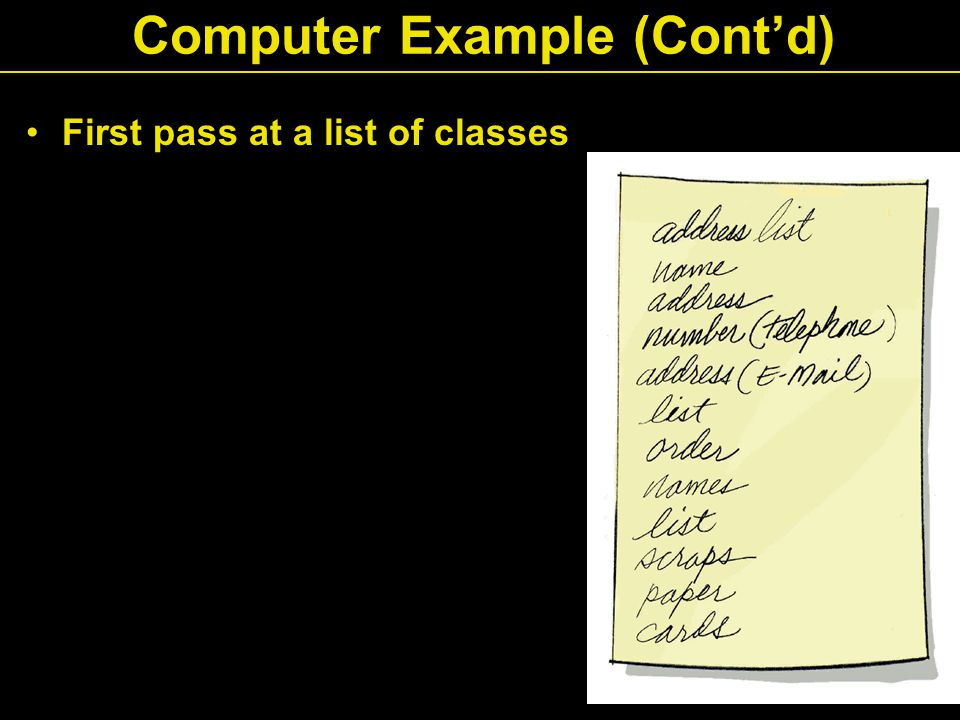 First pass at a list of classes Computer Example (Cont'd)