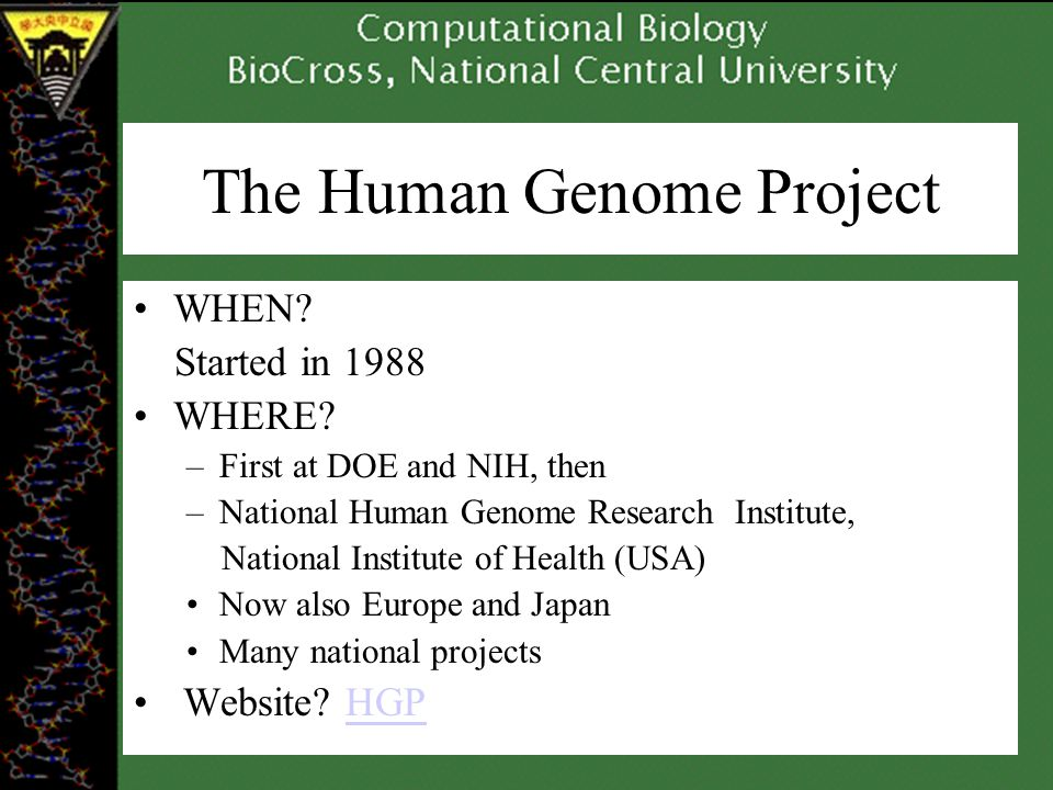 The Human Genome Project WHEN. Started in 1988 WHERE.