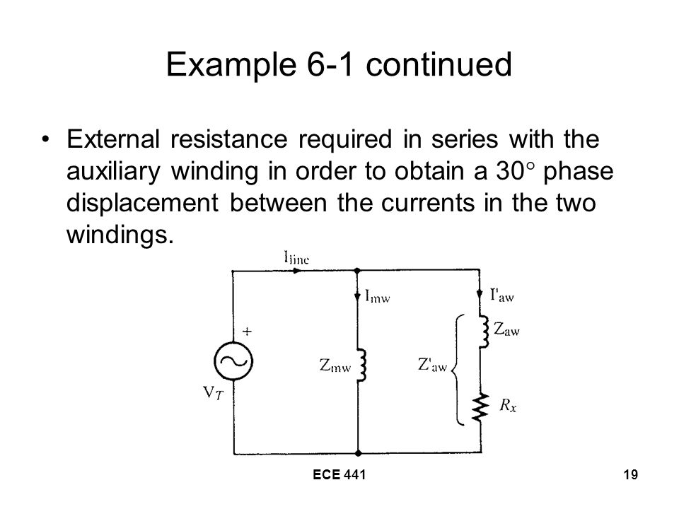 ECE Example 6-1 continued External resistance required in series with the auxiliary winding in order to obtain a 30  phase displacement between the currents in the two windings.