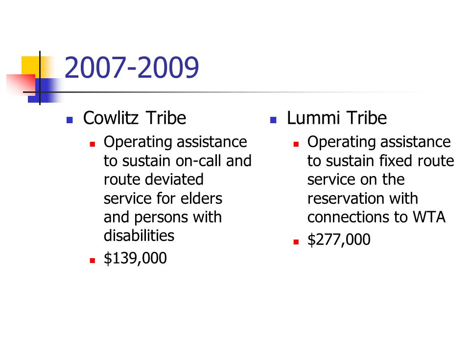 Cowlitz Tribe Operating assistance to sustain on-call and route deviated service for elders and persons with disabilities $139,000 Lummi Tribe Operating assistance to sustain fixed route service on the reservation with connections to WTA $277,000