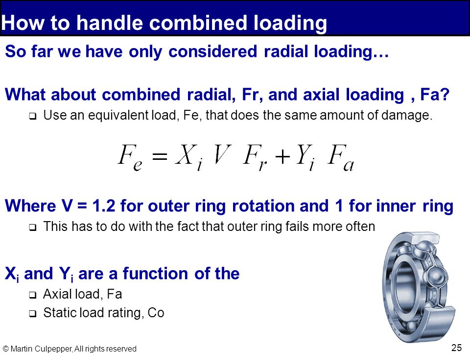 25 © Martin Culpepper, All rights reserved How to handle combined loading So far we have only considered radial loading… What about combined radial, Fr, and axial loading, Fa.