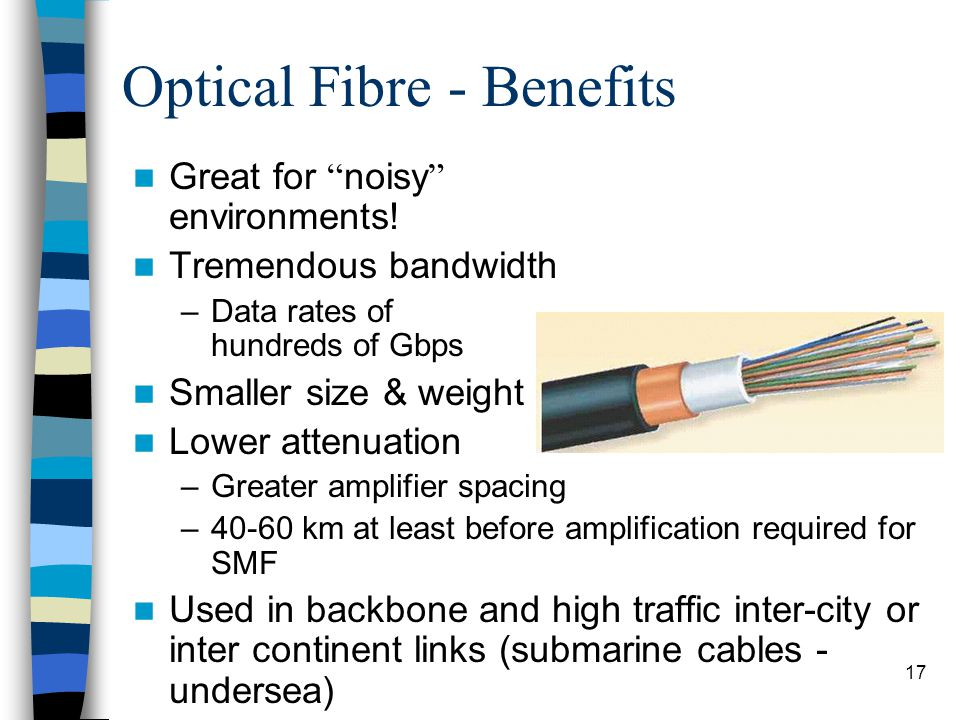 17 Optical Fibre - Benefits Great for noisy environments.