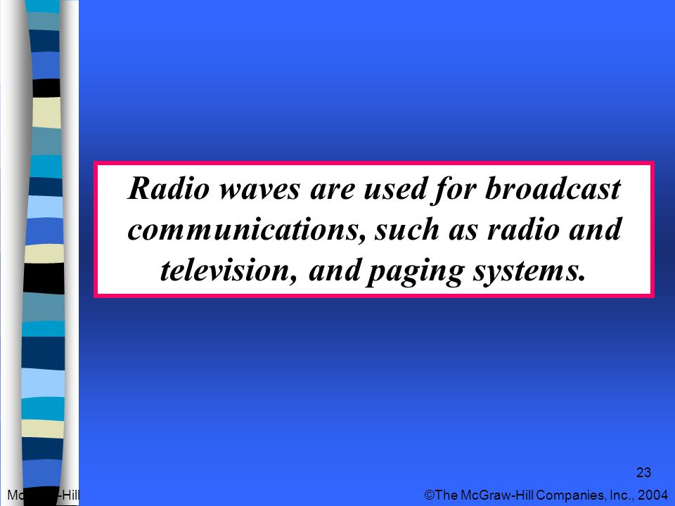 23 Radio waves are used for broadcast communications, such as radio and television, and paging systems.