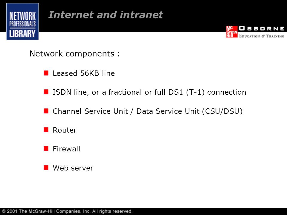 Network components : Leased 56KB line ISDN line, or a fractional or full DS1 (T-1) connection Channel Service Unit / Data Service Unit (CSU/DSU) Router Firewall Web server Internet and intranet