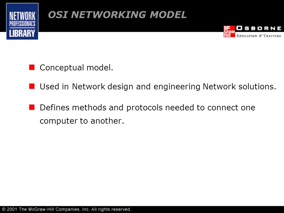 Conceptual model. Used in Network design and engineering Network solutions.