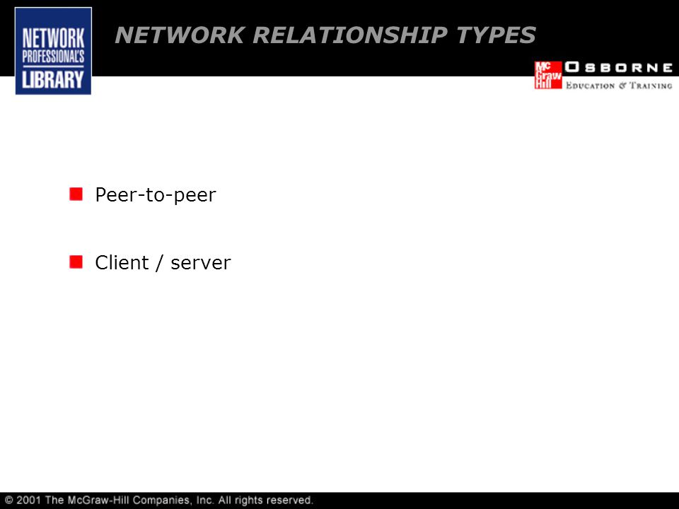 Peer-to-peer Client / server NETWORK RELATIONSHIP TYPES