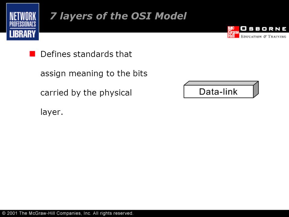 7 layers of the OSI Model Defines standards that assign meaning to the bits carried by the physical layer.