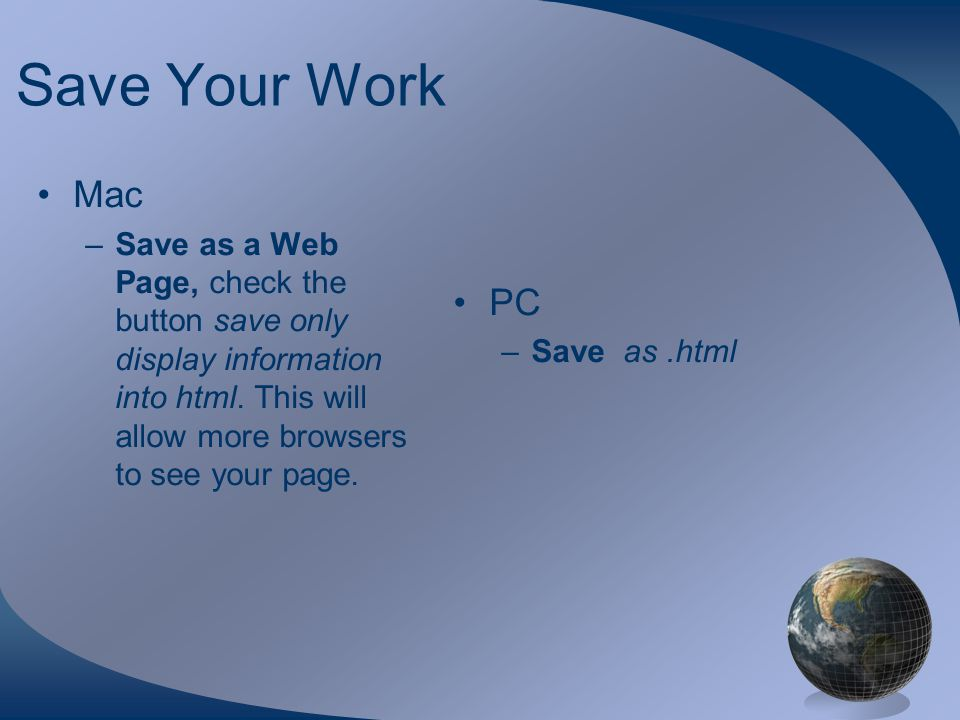 Save Your Work Mac –Save as a Web Page, check the button save only display information into html.