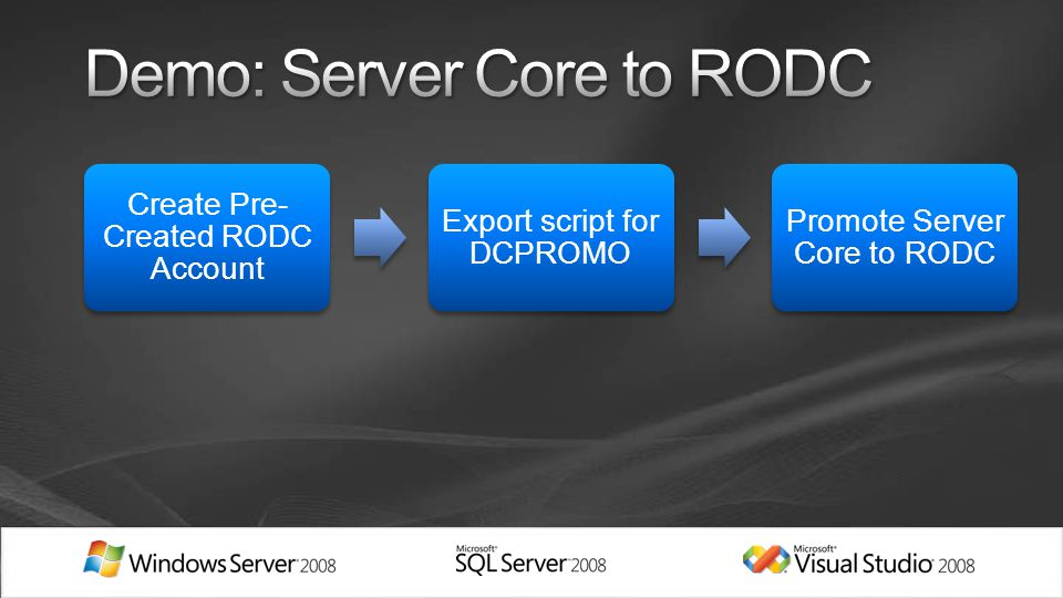 Create Pre- Created RODC Account Export script for DCPROMO Promote Server Core to RODC