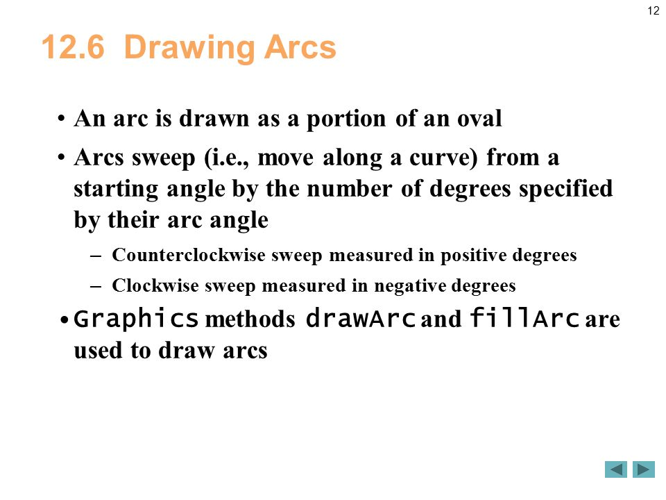 Drawing Arcs An arc is drawn as a portion of an oval Arcs sweep (i.e., move along a curve) from a starting angle by the number of degrees specified by their arc angle – Counterclockwise sweep measured in positive degrees – Clockwise sweep measured in negative degrees Graphics methods drawArc and fillArc are used to draw arcs