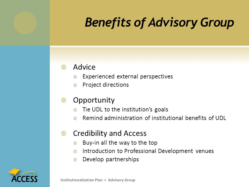 Benefits of Advisory Group  Advice  Experienced external perspectives  Project directions  Opportunity  Tie UDL to the institution's goals  Remind administration of institutional benefits of UDL  Credibility and Access  Buy-in all the way to the top  Introduction to Professional Development venues  Develop partnerships Institutionalization Plan > Advisory Group