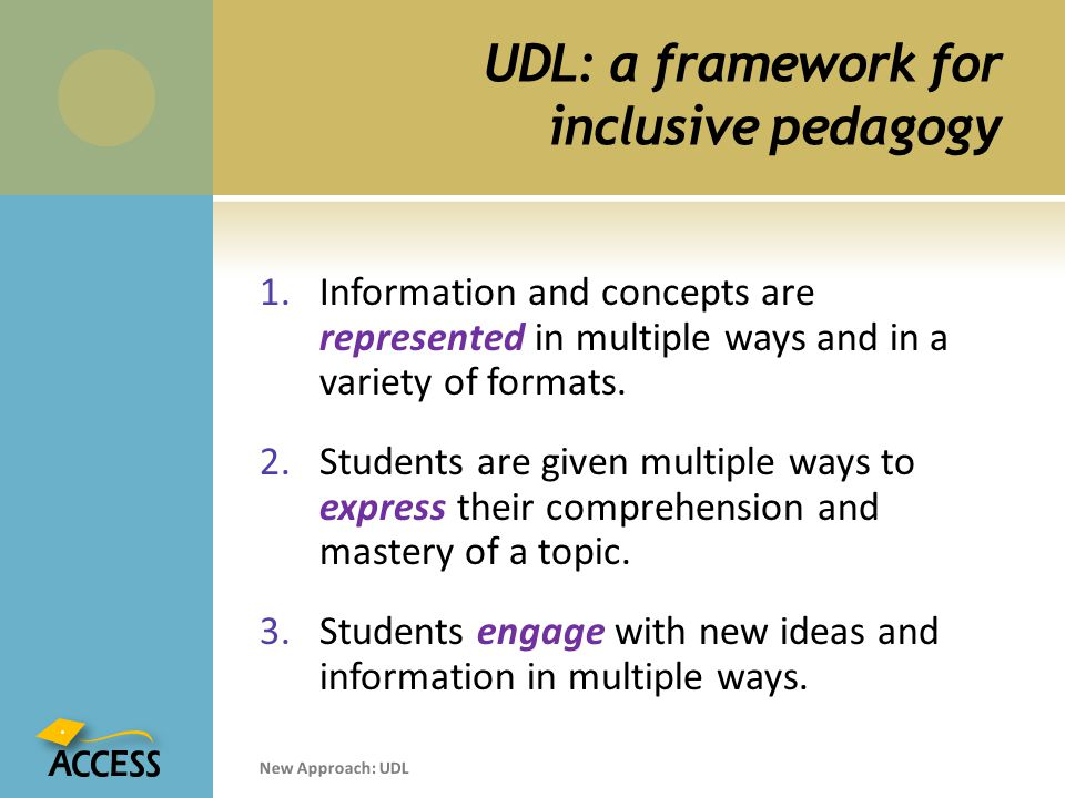 UDL: a framework for inclusive pedagogy 1.Information and concepts are represented in multiple ways and in a variety of formats.
