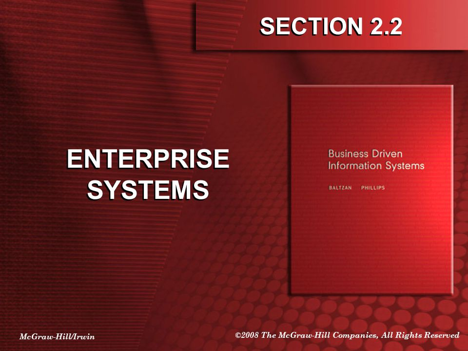 McGraw-Hill/Irwin ©2008 The McGraw-Hill Companies, All Rights Reserved SECTION 2.2 ENTERPRISE SYSTEMS