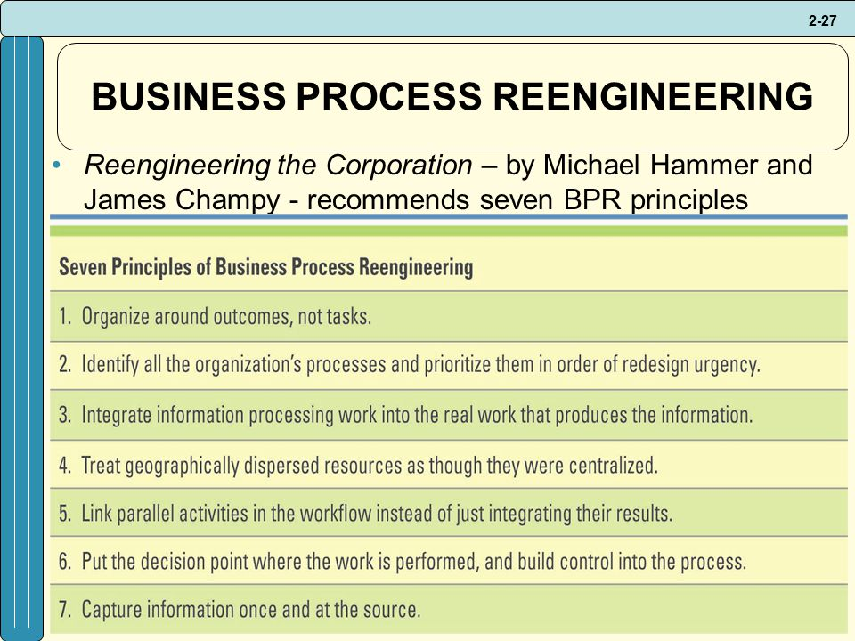 2-27 BUSINESS PROCESS REENGINEERING Reengineering the Corporation – by Michael Hammer and James Champy - recommends seven BPR principles