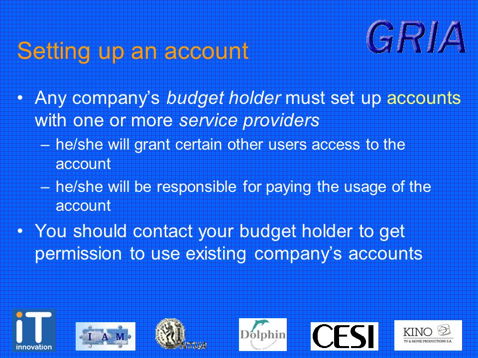 Setting up an account Any company's budget holder must set up accounts with one or more service providers –he/she will grant certain other users access to the account –he/she will be responsible for paying the usage of the account You should contact your budget holder to get permission to use existing company's accounts