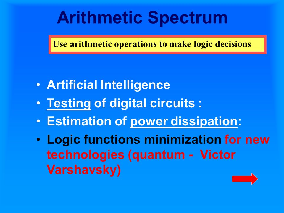 Arithmetic Spectrum Artificial Intelligence Testing of digital circuits : Estimation of power dissipation: Logic functions minimization for new technologies (quantum - Victor Varshavsky) Use arithmetic operations to make logic decisions