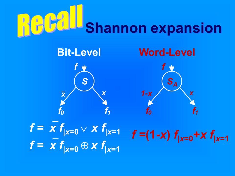 f =  x f |x=0  x f |x=1 f =  x f |x=0  x f |x=1 f =(1-x) f |x=0 +x f |x=1 Bit-LevelWord-Level Shannon expansion S f 0 f 1 x x f 1-x SASA f 0 f 1 x f