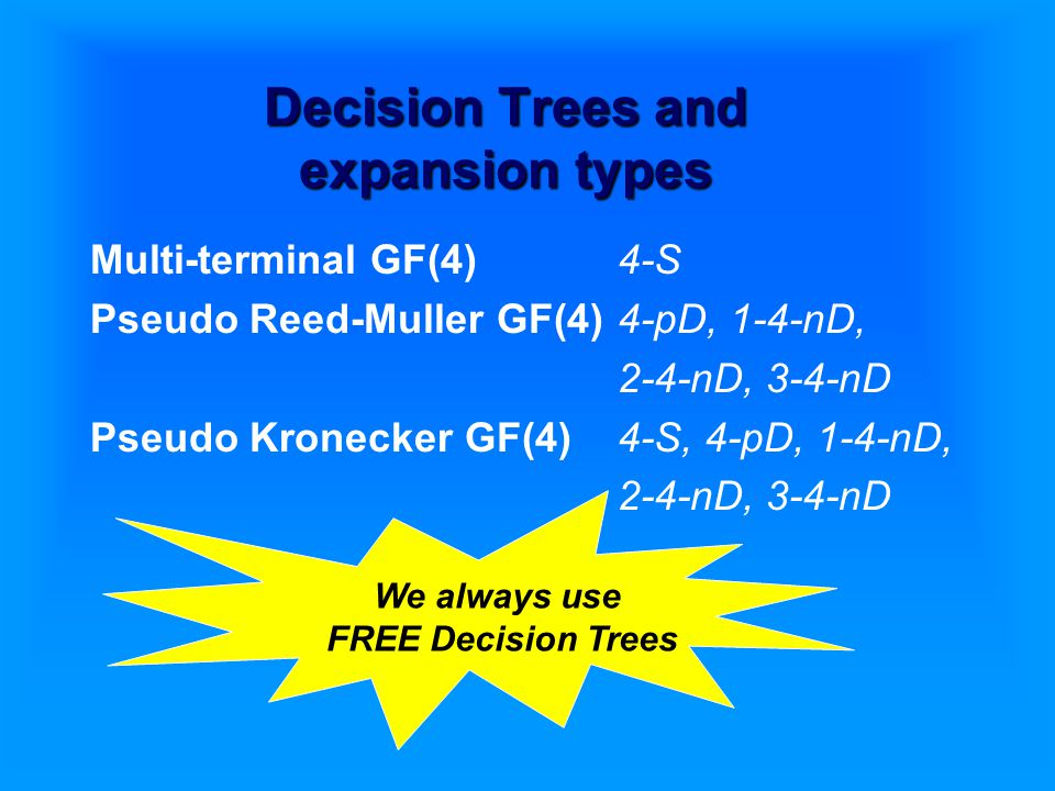 Decision Trees and expansion types Multi-terminal GF(4)4-S Pseudo Reed-Muller GF(4)4-pD, 1-4-nD, 2-4-nD, 3-4-nD Pseudo Kronecker GF(4)4-S, 4-pD, 1-4-nD, 2-4-nD, 3-4-nD We always use FREE Decision Trees