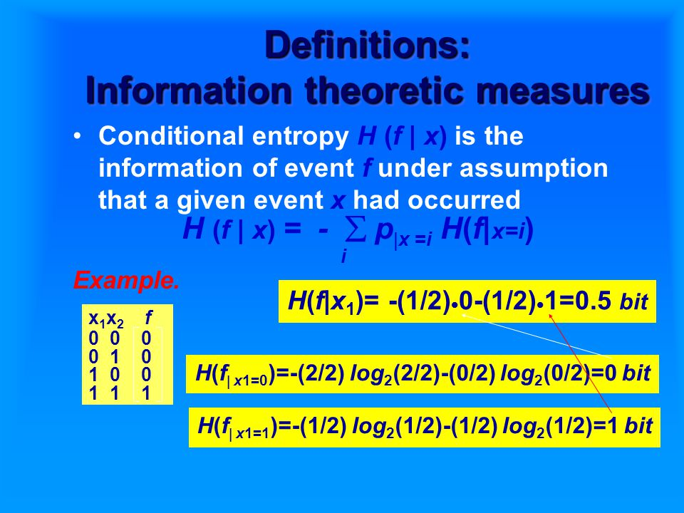 Definitions: Information theoretic measures Conditional entropy H (f | x) is the information of event f under assumption that a given event x had occurred H (f | x) = -  p  x =i H(f| x=i ) i Example.