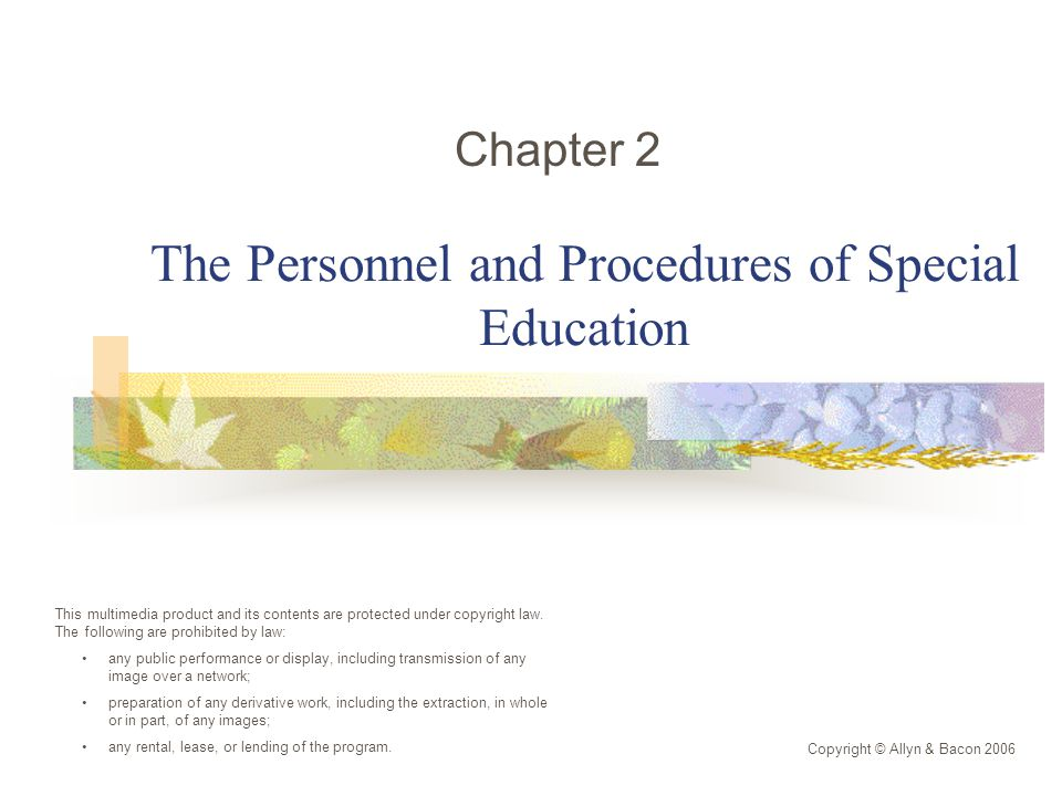 The Personnel and Procedures of Special Education Chapter 2 Copyright © Allyn & Bacon 2006 This multimedia product and its contents are protected under copyright law.