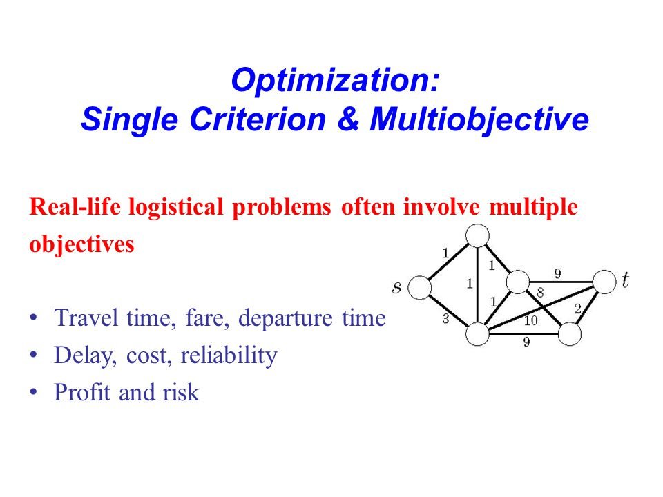 Optimization: Single Criterion & Multiobjective min f(x) subject to x ∈ S.