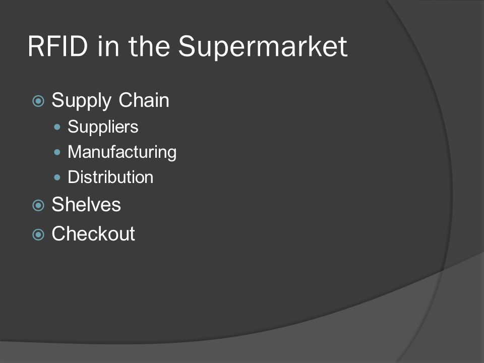 RFID in the Supermarket  Supply Chain Suppliers Manufacturing Distribution  Shelves  Checkout