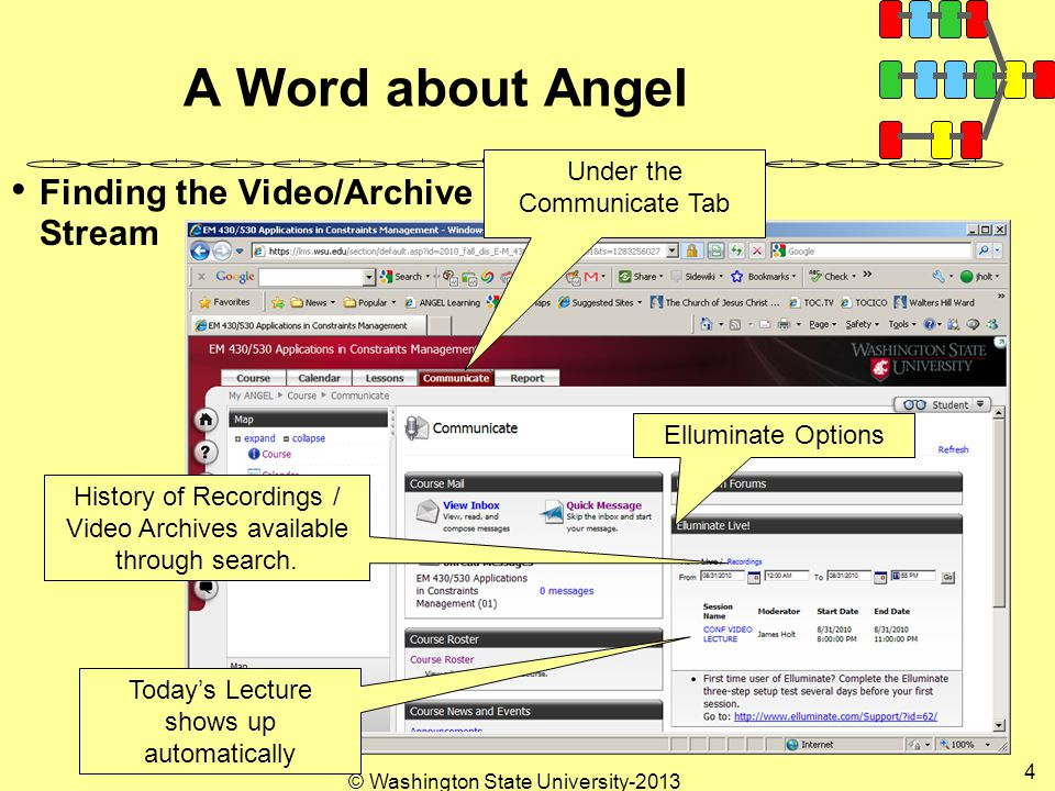 © Washington State University A Word about Angel Finding the Video/Archive Stream Under the Communicate Tab Elluminate Options Today's Lecture shows up automatically History of Recordings / Video Archives available through search.