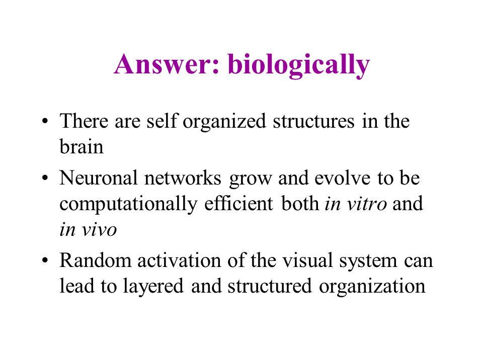 Question How can a useful configuration develop from self organization.