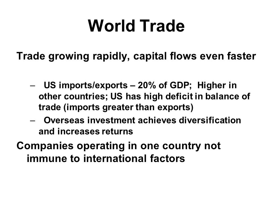 World Trade Trade growing rapidly, capital flows even faster –US imports/exports – 20% of GDP; Higher in other countries; US has high deficit in balance of trade (imports greater than exports) –Overseas investment achieves diversification and increases returns Companies operating in one country not immune to international factors