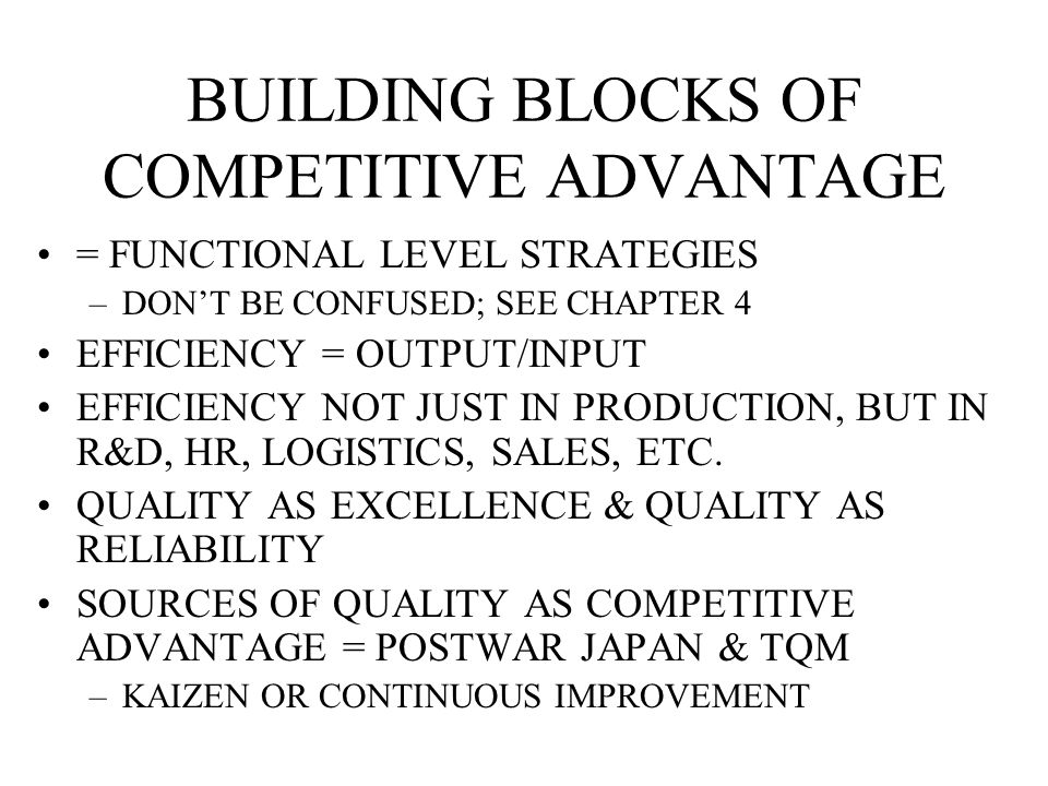 BUILDING BLOCKS OF COMPETITIVE ADVANTAGE = FUNCTIONAL LEVEL STRATEGIES –DON'T BE CONFUSED; SEE CHAPTER 4 EFFICIENCY = OUTPUT/INPUT EFFICIENCY NOT JUST IN PRODUCTION, BUT IN R&D, HR, LOGISTICS, SALES, ETC.