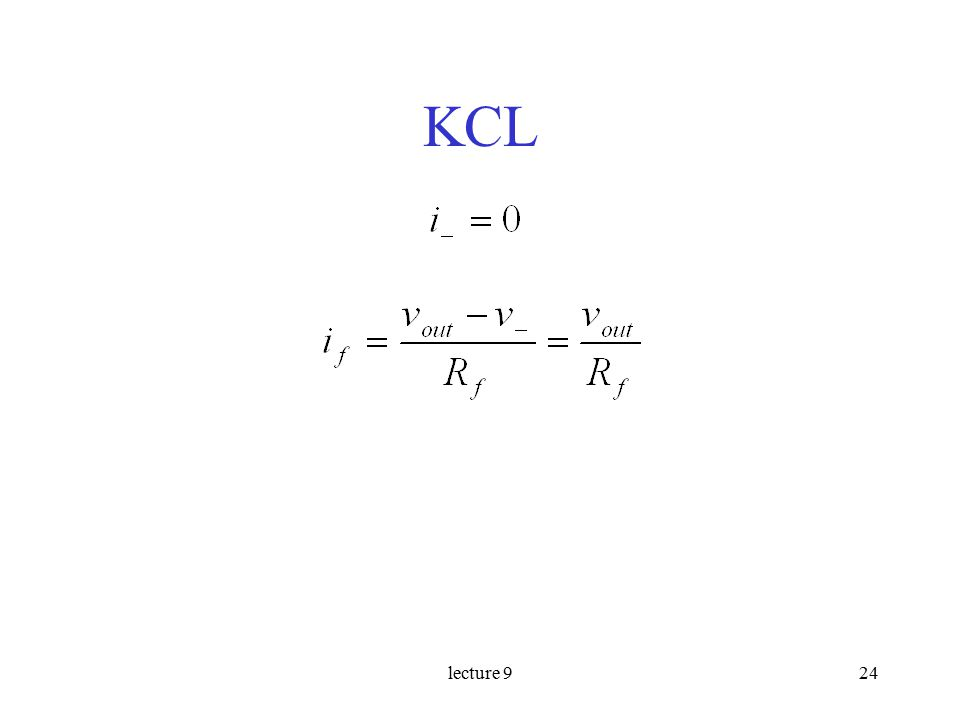 lecture 924 KCL