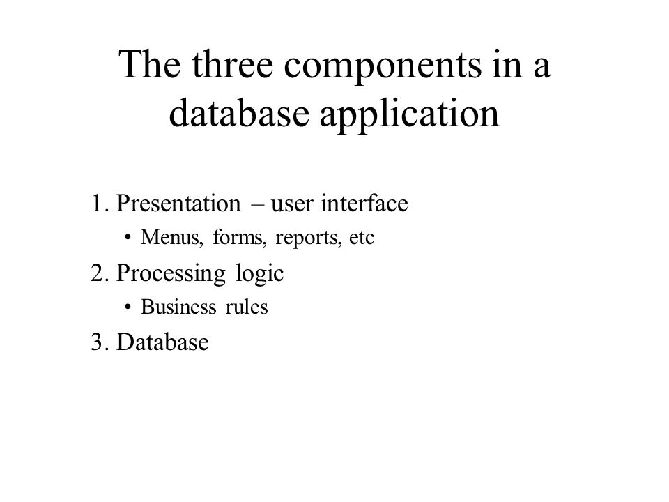 The three components in a database application 1.