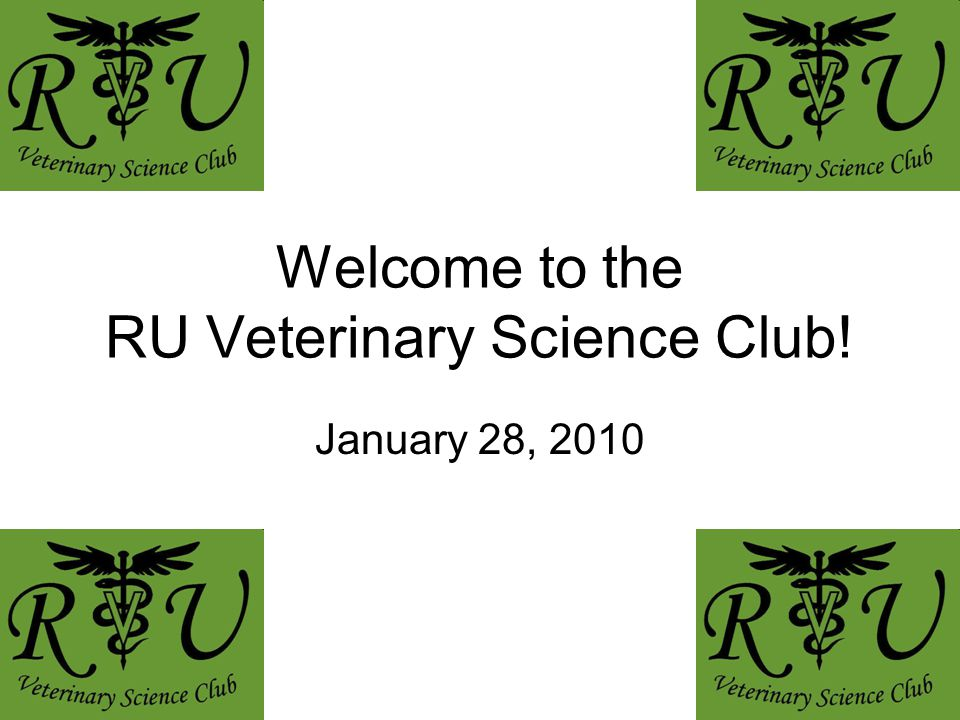 Welcome to the RU Veterinary Science Club! January 28, 2010