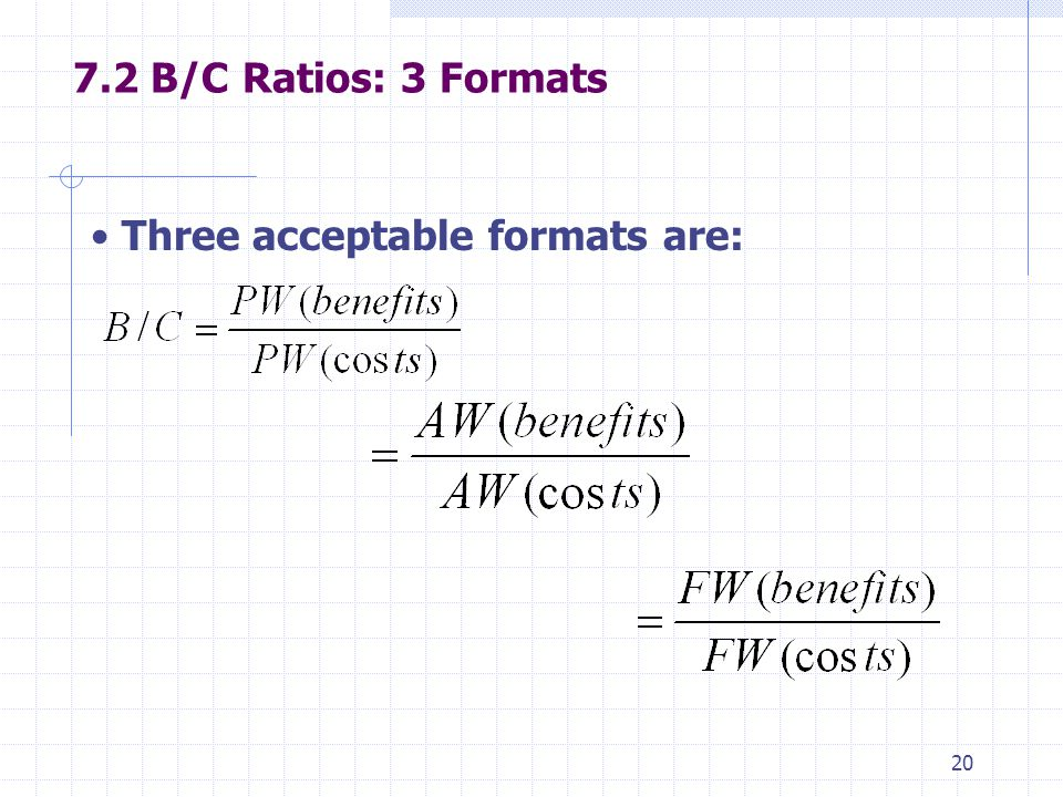B/C Ratios: 3 Formats Three acceptable formats are:
