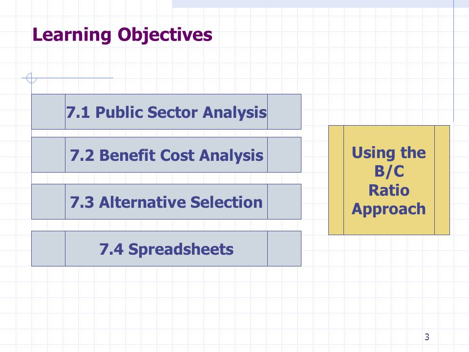 3 Learning Objectives 7.1 Public Sector Analysis 7.2 Benefit Cost Analysis 7.3 Alternative Selection 7.4 Spreadsheets Using the B/C Ratio Approach