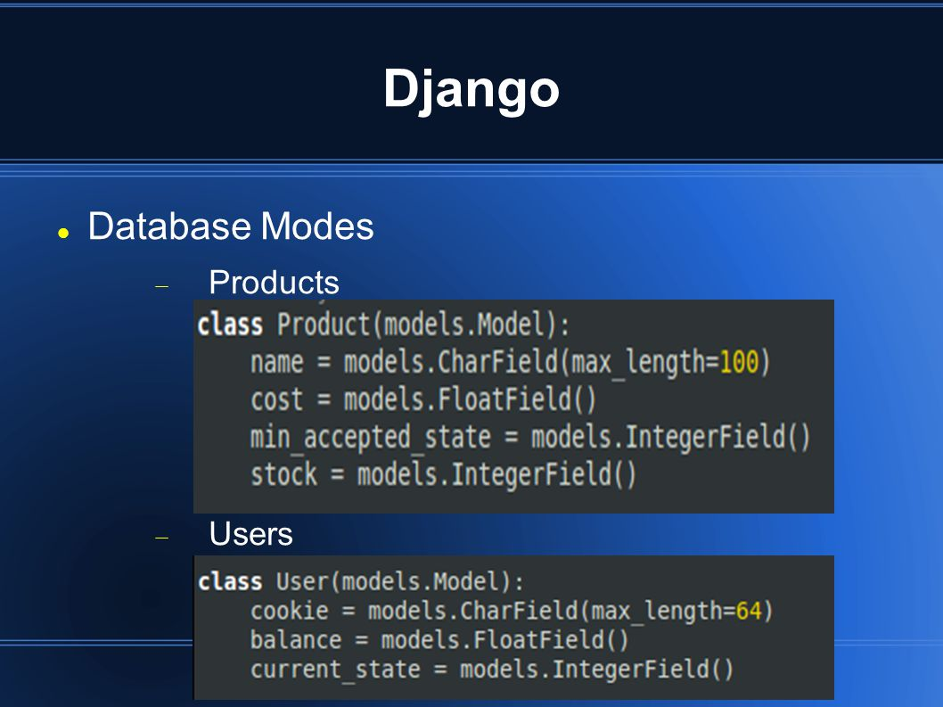 Django Database Modes  Products  Users